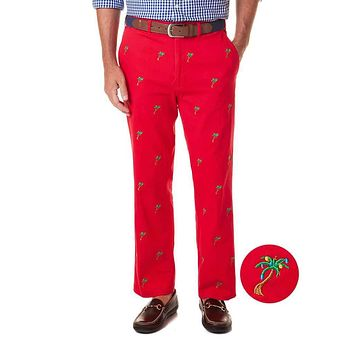 Stretch Twill Harbor Pant with Embroidered Christmas Palm Trees by Castaway Clothing