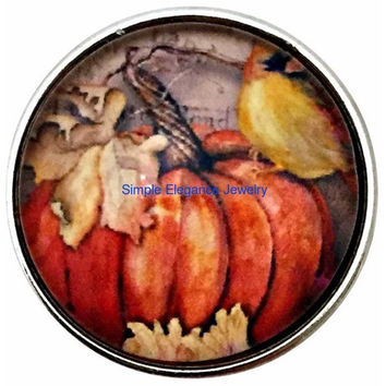 Fall Pumpkin Snap 20mm for Snap Charm Jewelry
