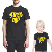 Superdad and Superboy Father day gift Men adult and toddler Tshirt tee