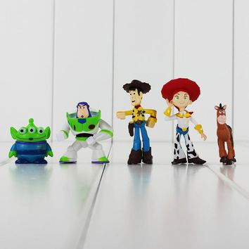 5pcs/lot Toy Story 3 Figure Buzz Lightyear Woody Jessie Rex Alien Bullseye Horse Figure Toys Collective Doll Kids Gift