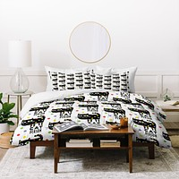Andi Bird Cat Person Black Duvet Cover