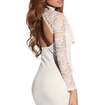 Cut- Outs White Mini Dress in Full Sleeves Floral Lace