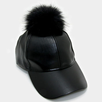 Faux Leather Fur Pom Pom Baseball Hat - Black