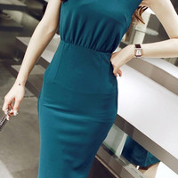 Turquoise Sleeveless Pencil Cut Dress