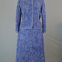Vintage 1960s Purple Suit Tweedy Boucle Suit - Evelyn McGill, 36 bust