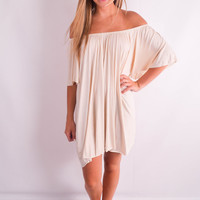 "Off the Shoulder Flowy Dress in Cream ""The Angel Flare"""