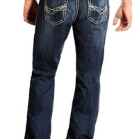 Rock & Roll Cowboy® Dark Stonewash Double Barrel with Abstract V Stitch Relaxed Fit Boot Cut Jeans RRC555642