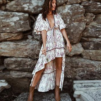 sexy deep v-neck boho dress strawberry cream floral print summer Dresses irregular dress Gypsy women dresses Vestidos