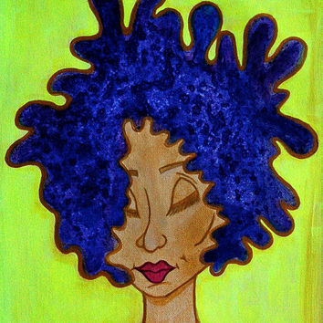Natural Afro art, African American Painting, original acrylic painting, red lips, whimsical artwork, folk art, colorful modern art, cubism