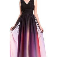 Women's V Neck Ombre Chiffon Floor Length Evening Gown Pleated Bodice
