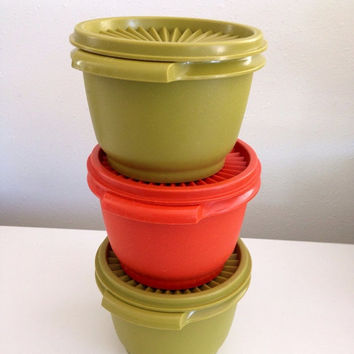25% OFF SPRING SALE Tupperware Stackable Bowls with Lids Retro 70s Colors Harvest Servalier Push Button