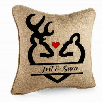 Buck and Doe Love Silhouette / Personalized Burlap Pillow / Wedding Gift