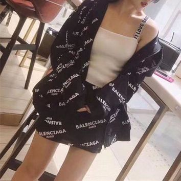 ONETOW balenciaga women casual simple letter print hooded cardigan long sleeve short s