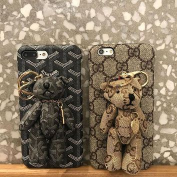 LMFOK3 Gucci / Goyard Bear PU Mobile Phone Shell iPhone Phone Cover Case For iphone 8 8plus iPhone6 6s 6plus 6s-plus iPhone 7 7plus