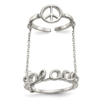 925 Sterling Silver Polished Chain and Peace Double Ring