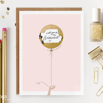 """Scratch-off """"Will You Be My Bridesmaid? / Maid of Honor?""""  Write-in Invitation // Gold Balloon"""