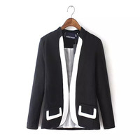 Black Long-Sleeve Linen Blazer With Pocket