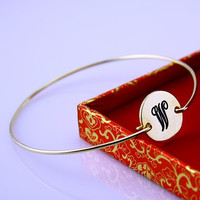 Wedding Anniversary (initial W )Gold Name Bangle Bracelet ,HouseWife Bangle ,2014 Xmas MOthers Gift ,Grandmothers Bangle