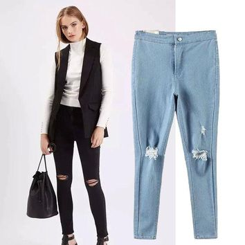 LMFUG3 Women's Fashion High Rise Stretch Ripped Holes Jeans Skinny Pants [4920503492]