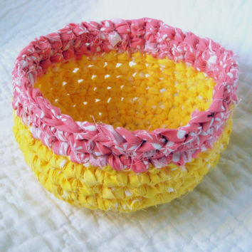 Pink Lemonade Rag Basket - Crochet Fabric Strips Spring Colors Yellow Pink Coral