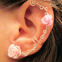 "Non Pierced Ear Cuff  ""Roses are Romantic"" Cartilage Conch Cuff Silver tone"
