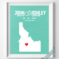 Customized, Print, Idaho, Wedding, Anniversary, Couple, Personalized, Gift, Map, Custom, Wall Art, Home Decor, Marriage, Love [NO 11]