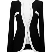 Black And White Double Pocket Long Sleeve Blazer