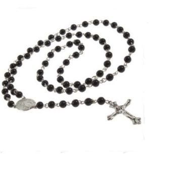 Mens Beckham Cross Pendant Black Rosary Beads Necklace Brand New