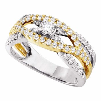 14kt White Gold Womens Round Diamond Solitaire Two-tone Bridal Wedding Engagement Ring 3/4 Cttw