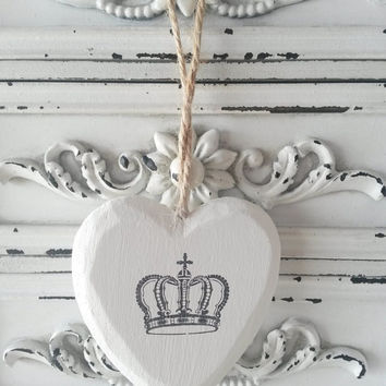 Heart decoration, rustic heart, white heart, crown, heart door hanger, heart and crown, nursery decor, wooden heart, heart door hanging,