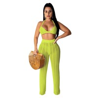 Women Sexy Beach Two Piece Knitted Crop Top Pant Set