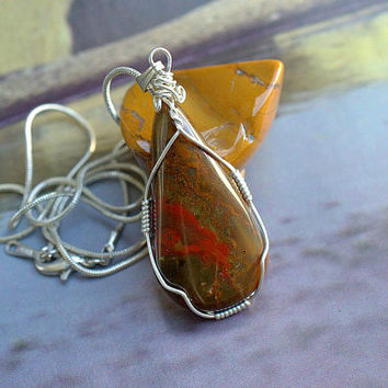 Lavic Jasper pear shape pendant silver wire wrapped with silver plated necklace