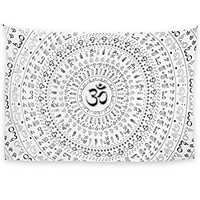 Zest For Life Universal Om Tapestry Tablecloth Beach Sheet Wall Art 80x52 Inches Black - FREE Sticker Included