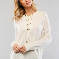Stolen Hearts Lace Up Sweater - Ivory