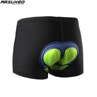 ARSUXEO Cycling Underwear MTB Mountain Bike Shorts 5D Gel Padded Compression Cycling Cycle Shorts for Men and Women