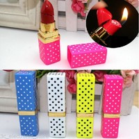 Colorful Portable Butane Flame Gas Point Lipstick Shape Model Cigarette Lighter - One Item with Color Maybe Vary
