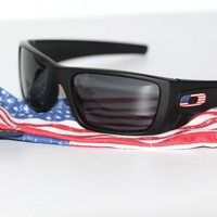 Custom Oakley Fuel Cell Sunglasses Matte Black Frame W/ Grey Lens AMERICAN FLAG