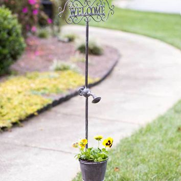"""Rustic """"Welcome"""" Garden Stake with Planter"""