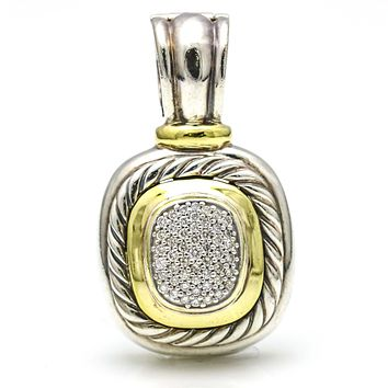 David Yurman Diamond Albion Enhancer in 18k Gold and Sterling Silver
