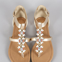 City Classified Metallic Cluster Jeweled Thong Flat Sandal
