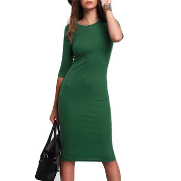 2016 New Arrival Women Autumn Summer Style Bodycon Pencil knitted Dresses Casual Green Crew Neck Half Sleeve Midi Dress