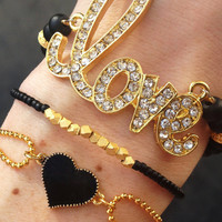 Lovestruck Bracelet Stack in Black and Gold