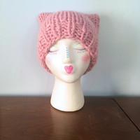 "Chunky Cat Beanie ""Poppy"" - Chunky Knit Hat - Cat Ear Hat - Square Beanie - Pink Hats - Warm Winter Hat - Funny Hats - Adult Animal Hat"