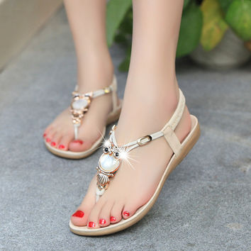 Design Stylish Summer Bohemia Owl Plus Size Shoes Sandals [9257016908]