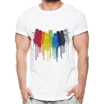 2018 Newest Hand-Painted Dalek/ Eeveelution Pritn men's T-shirt Funny rainbow draw Dripping DesignKawaii Pokemon go  AT_89_9