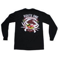 Route One Apparel Classic Flag & Crab (Black) / Long-Sleeve Shirt