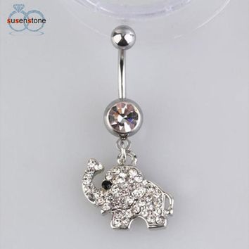 SUSENSTONE Steel Rhinestone Elephant Dangle Navel Belly Button Ring