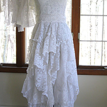 White/off white boho gypsy hippie alternative bride tattered wedding dress, recycled / vintage laces, size 4-6, by Lily Whitepad