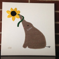 Elephant with Flower #4 Fabric Wall Art
