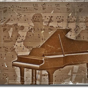 Piano Music Notes and Musicians, Wall Picture Art on Acrylic , Ready to Hang!